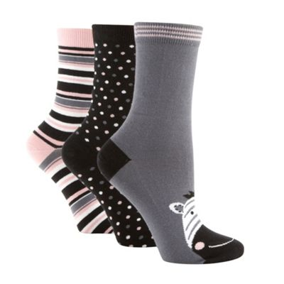 Pack of three black zebra socks
