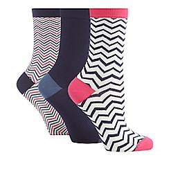 The Collection - Pack of three assorted plain and chevron patterned socks