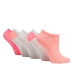 The Collection - Pack of five pink and white trainer socks