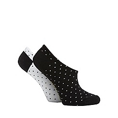 Converse - Pack of two black and white button trainer socks
