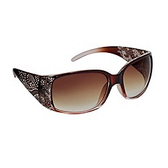 Beach Collection - Brown plastic studded swirl arm sunglasses