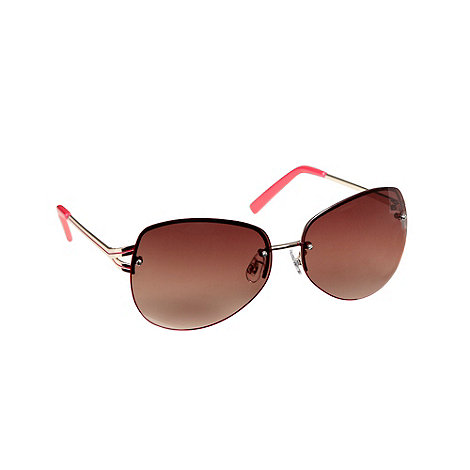 Red Herring - Pink rimless aviator sunglasses