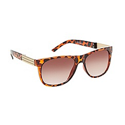 Beach Collection - Brown tortoiseshell square studded sunglasses