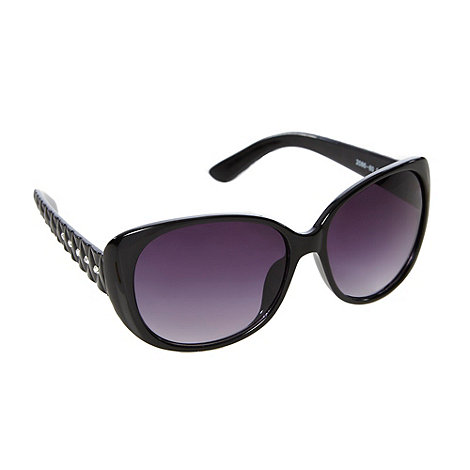 Red Herring - Black plastic quilted cat eye sunglasses
