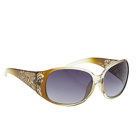 Mantaray - Khaki plastic etched leaf wrap sunglasses