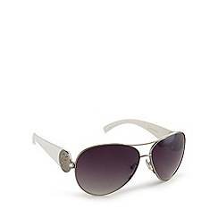Guess - Silver and white metal aviator sunglasses