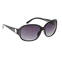 Gionni - Black plastic diamante cross sunglasses