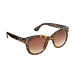 Lipsy - Brown tortoiseshell studded cat eye sunglasses