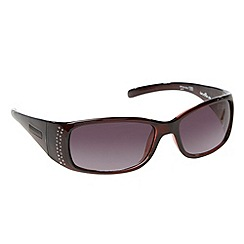 Bloc - Dark red diamante detail wrap sunglasses