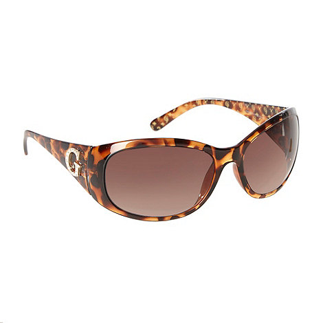 Guess - Brown tortoiseshell diamante logo sunglasses