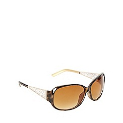 Beach Collection - Brown cutout filigree metal arm sunglasses