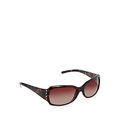 Beach Collection - Brown tortoiseshell rectangle diamante temple sunglasses