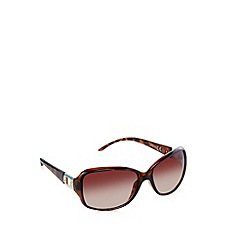 Beach Collection - Brown tortoiseshell diamante arm sunglasses