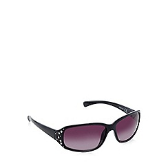 Beach Collection - Black rectangle diamante temple sunglasses