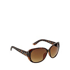 Beach Collection - Brown plastic tortoiseshell frame quilted arm cat eye sunglasses