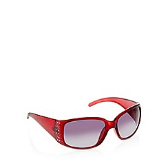 Beach Collection - Dark red plastic wrap frame diamante temple sunglasses