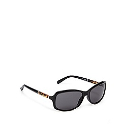 Beach Collection - Black animal temple rectangular plastic sunglasses