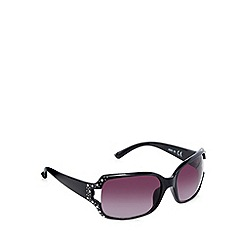 Beach Collection - Black square diamante cutout sunglasses