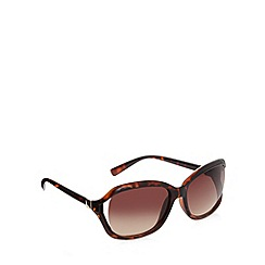 Beach Collection - Brown plastic tortoiseshell frame cutout temple sunglasses