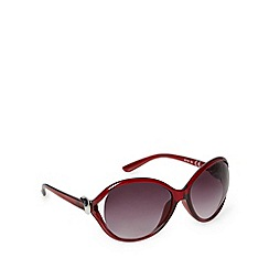 Beach Collection - Dark red oversize round split temple sunglasses