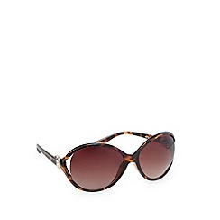 Beach Collection - Brown tortoiseshell oversize round split temple sunglasses