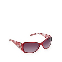 Beach Collection - Red floral diamante temple sunglasses