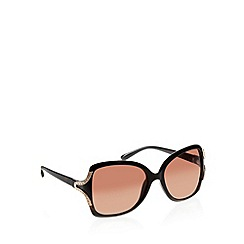 Beach Collection - Brown plastic tortoiseshell frame diamante temple sunglasses