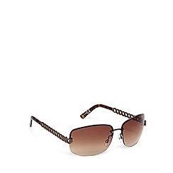 Beach Collection - Brown metal wave arm rimless sunglasses
