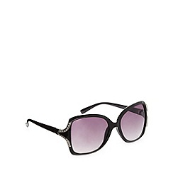 Beach Collection - Black square plastic frame diamante temple sunglasses