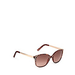 Beach Collection - Light brown metal trim tortoiseshell plastic sunglasses