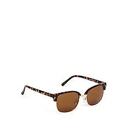 Red Herring - Light brown half tortoiseshell frame round metal sunglasses