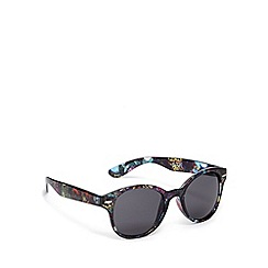 Red Herring - Black foliage print round plastic sunglasses