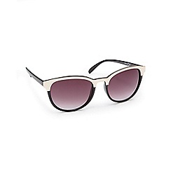 Red Herring - Black semi patent round sunglasses