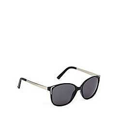 Beach Collection - Black metal trim square plastic sunglasses