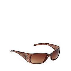 Mantaray - Brown striped hibiscus arm rectangular plastic sunglasses