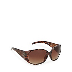 Mantaray - Light brown tortoiseshell plastic round sunglasses