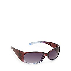 Mantaray - Dark red tinted plastic wrap floral D frame sunglasses