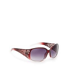 Mantaray - Dark red tinted plastic etched leaf wrap sunglasses