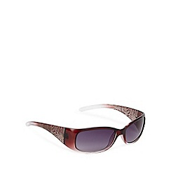 Mantaray - Dark red etched leaf arm rectangular plastic sunglasses