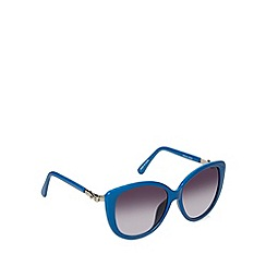 Jeepers Peepers - Blue plastic large cat eye sunglasses