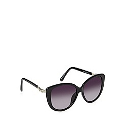 Jeepers Peepers - Black plastic large cat eye sunglasses