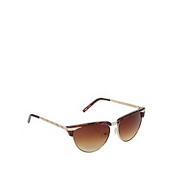 Jeepers Peepers - Brown tortoiseshell semi rimless sunglasses