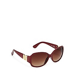 Principles by Ben de Lisi - Designer dark red round plastic sunglasses