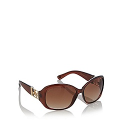 Lipsy - Brown plastic heart temple sunglasses