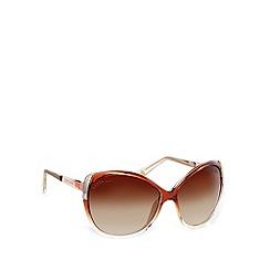 Lipsy - Brown retro inspired large cat eye sunglasses