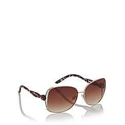 Lipsy - Brown metal frame twisted arm sunglasses