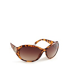 Guess - Light brown animal print mock croc round sunglasses
