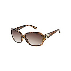 Guess - Light brown animal print mock croc square sunglasses