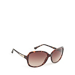 Guess - Light brown arm logo square sunglasses