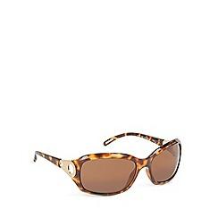 Ted Baker - Light brown tortoiseshell framed circle temple sunglasses